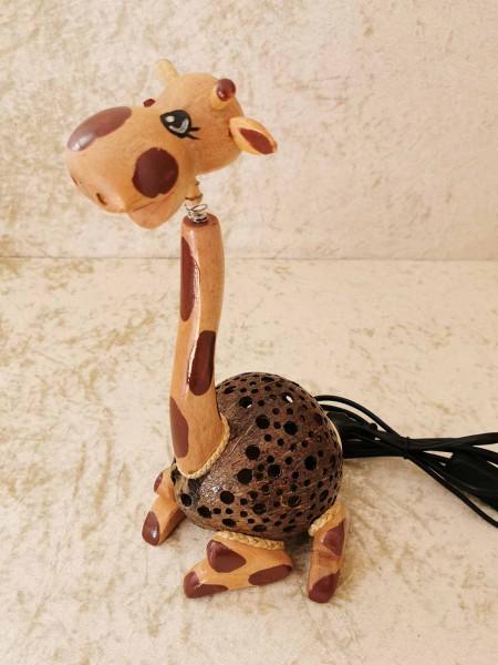 Kokos-Tierlampe Giraffe, klein, sitzend
