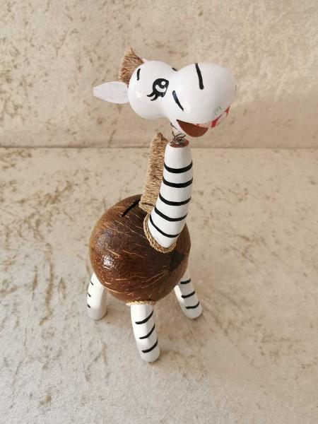 Kokos-Spardose Zebra