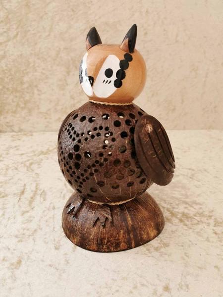 Kokos-Tierlampe Eule, helles Gesicht