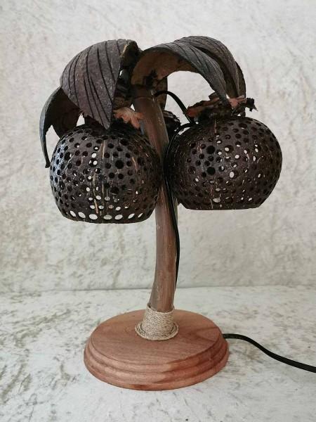 Palmlampe, auf Holzfuß, offene Leuchten